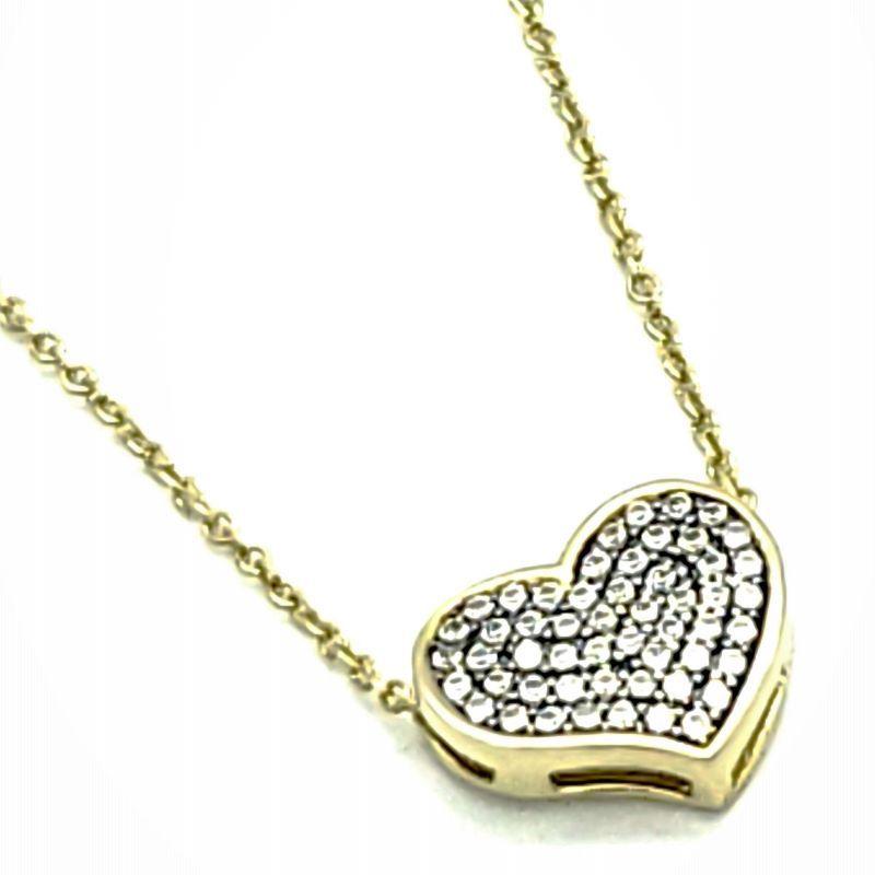 Cordão Com Pingente Coração Cravejado Pavé De Zirconias Em Prata Com Banho De Ouro 18k 1669