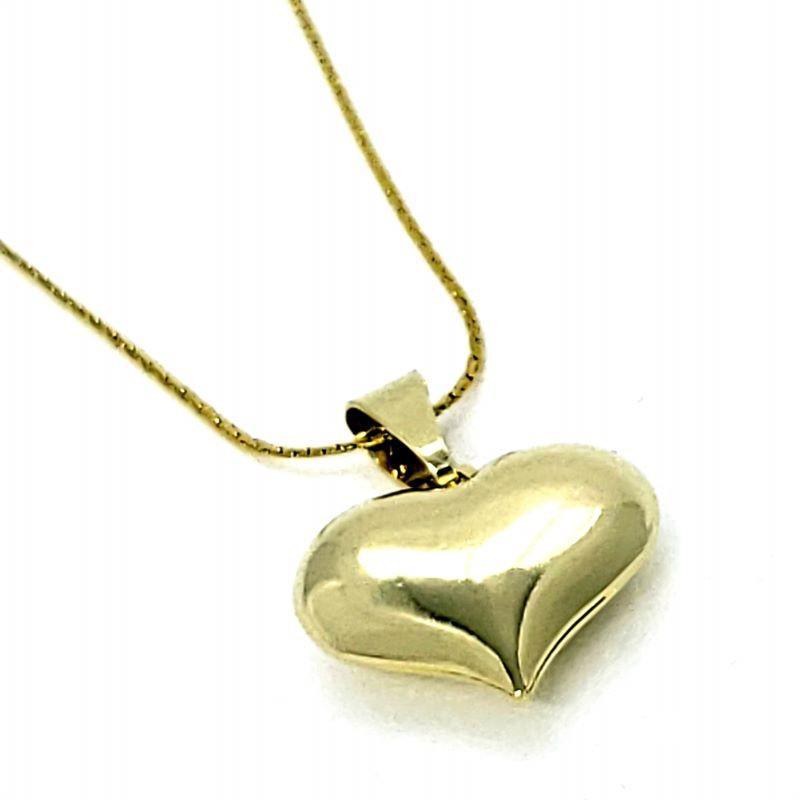 Cordão Com Pingente Coração Liso Acabamento Polido Banhado A Ouro 18k 4749 4164