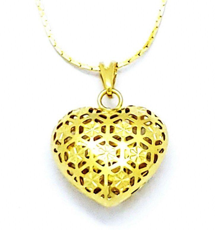 Cordão Com Pingente Coração Rendado Banho Ouro 18k 4692