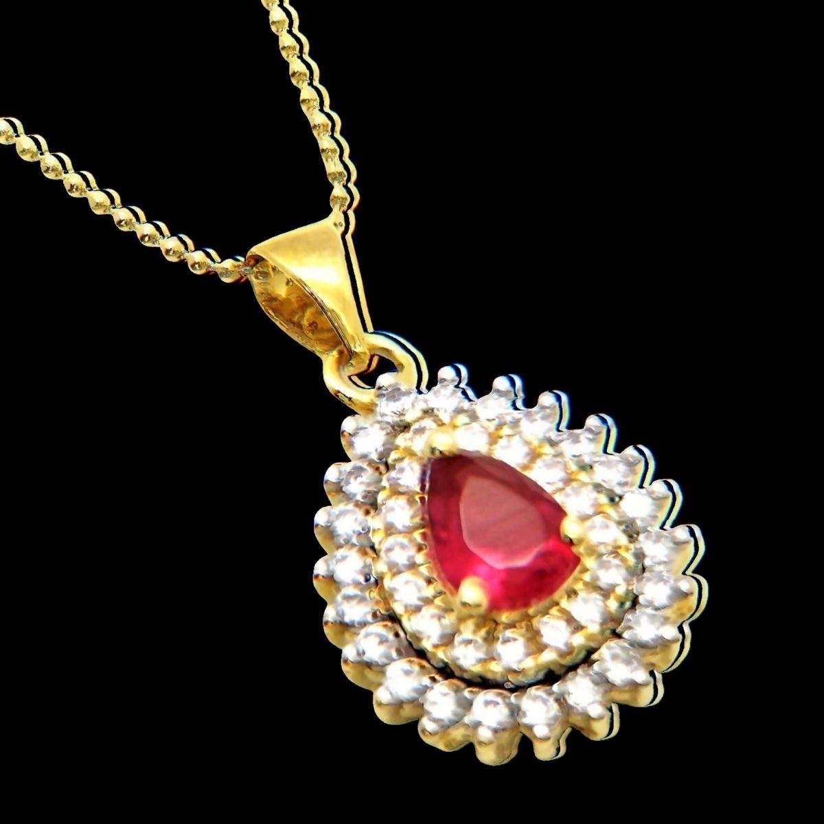 Cordão Com Pingente Cristal Rubelita Cravejado Banho De Ouro 18k 2974A