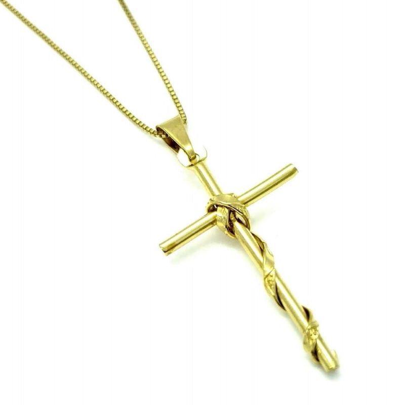 Cordão E Pingente Crucifixo Com Faixa Banho De Ouro 18k 502