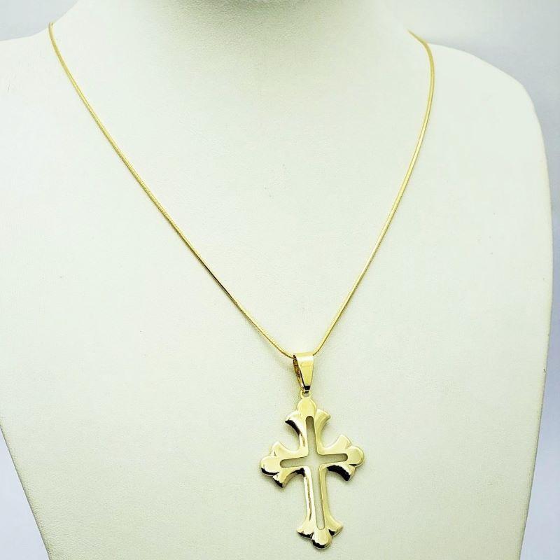 Cordão Com Pingente Cruz Fleuri 70cm Banho De Ouro 18k 3087
