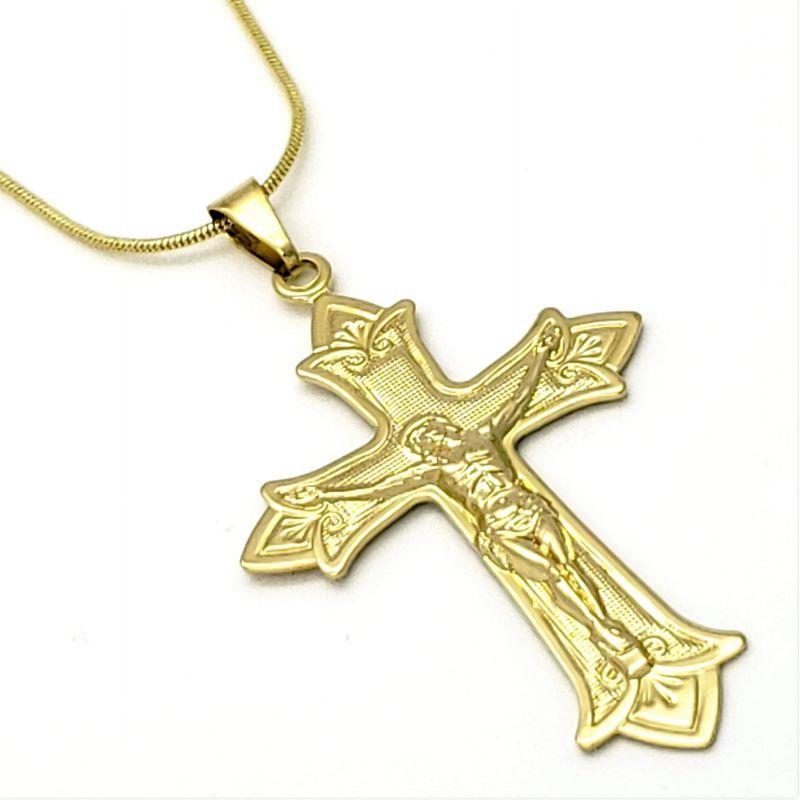 Cordão Com Cruz Portuguesa 70cm Banho De Ouro 18k 1603