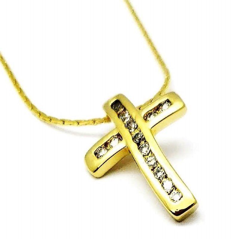 Cordão Com Pingente Cruz De Zirconias Banhados A Ouro 18k 578