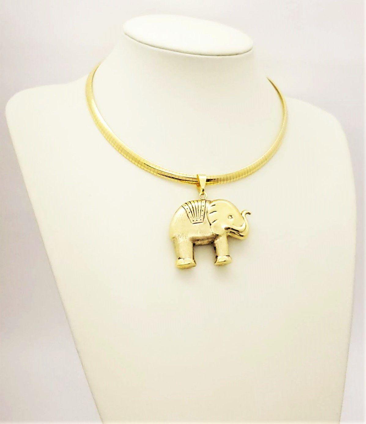 Cordão Com Pingente Elefante Dupla Face Banho Ouro 18k 4201