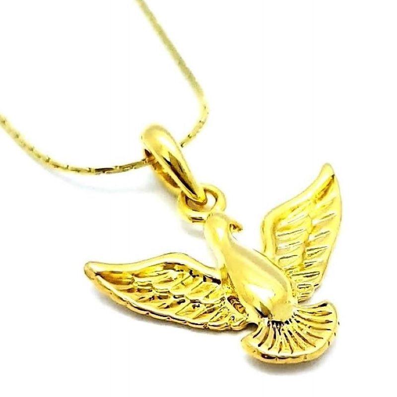 Cordão Com Pingente Espírito Santo Banho De Ouro 18k 1561A