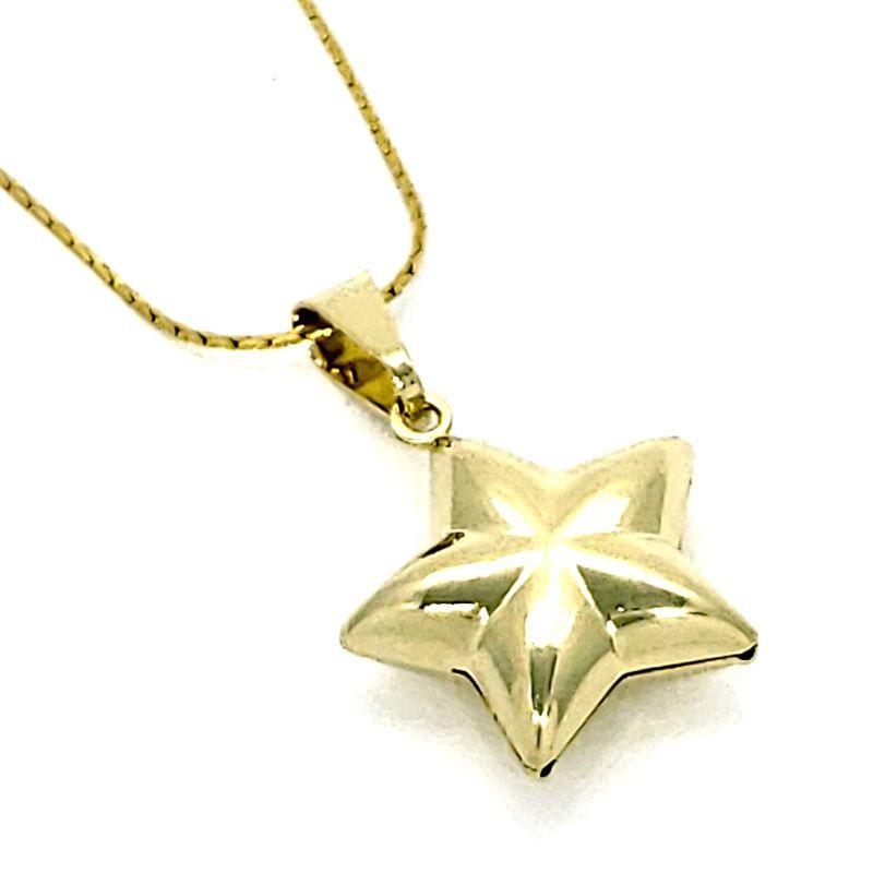 Cordão Com Pingente Estrela De 5 Pontas Banhados A Ouro 18k 4143