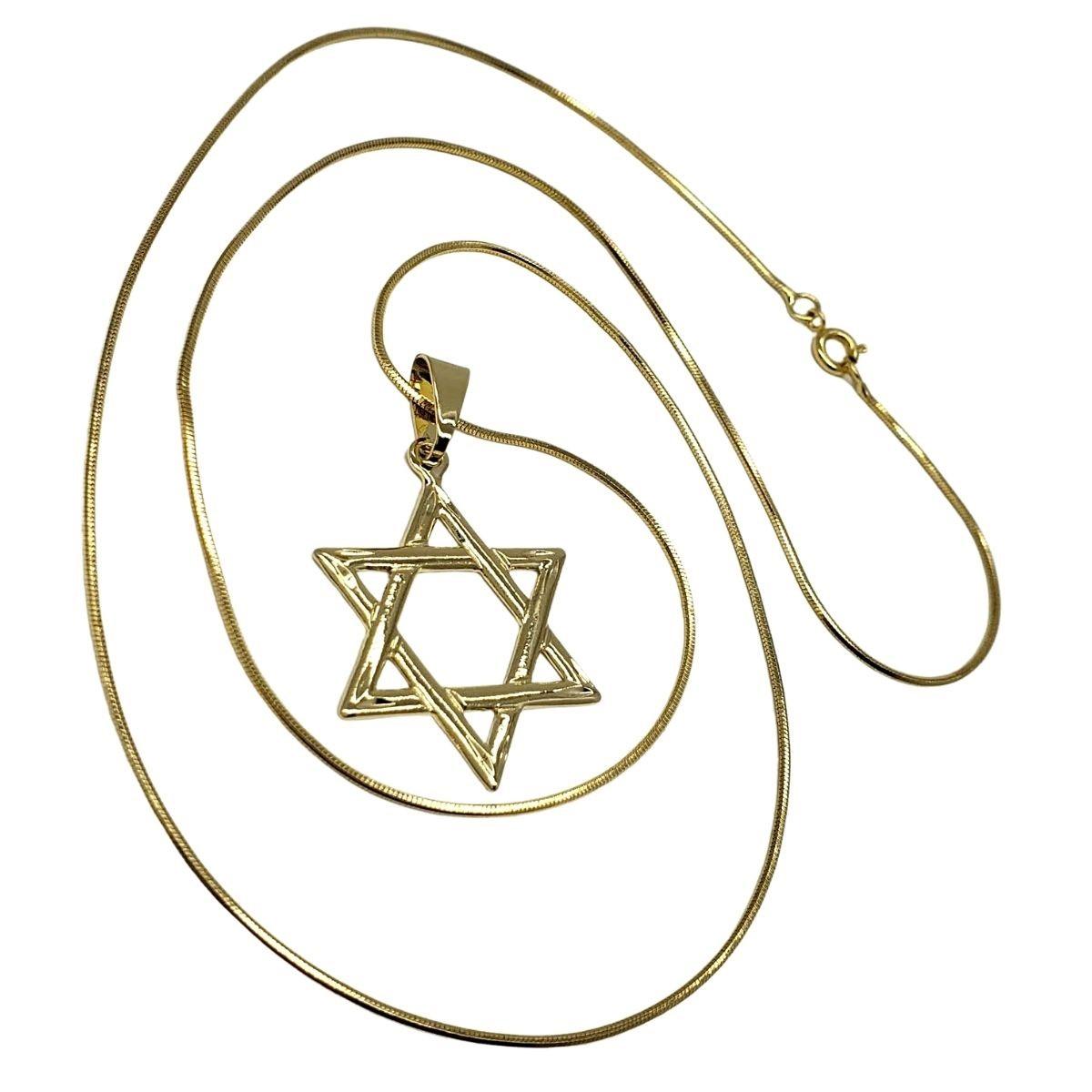 Cordão Estrela de David Diamantada Banho De Ouro 18k 4759A
