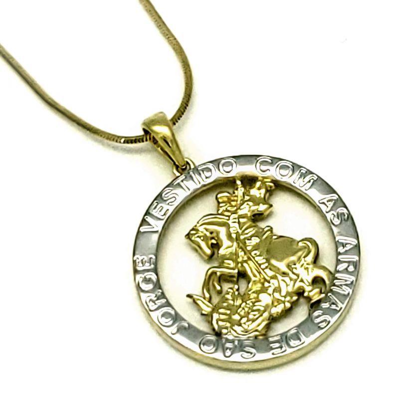 Cordão Com Pingente Medalha De São Jorge Banho De Ouro 18k 4725 4643