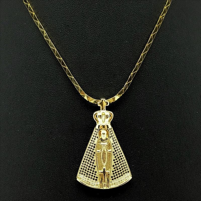 Colar Com Pingente Nossa Senhora Aparecida Cravejado Zirconias Banho Ouro 18k 1747