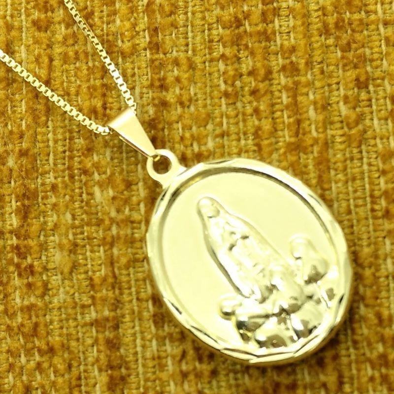 Cordão Com Pingente Nossa Senhora De Fátima Banho De Ouro 18k 4139