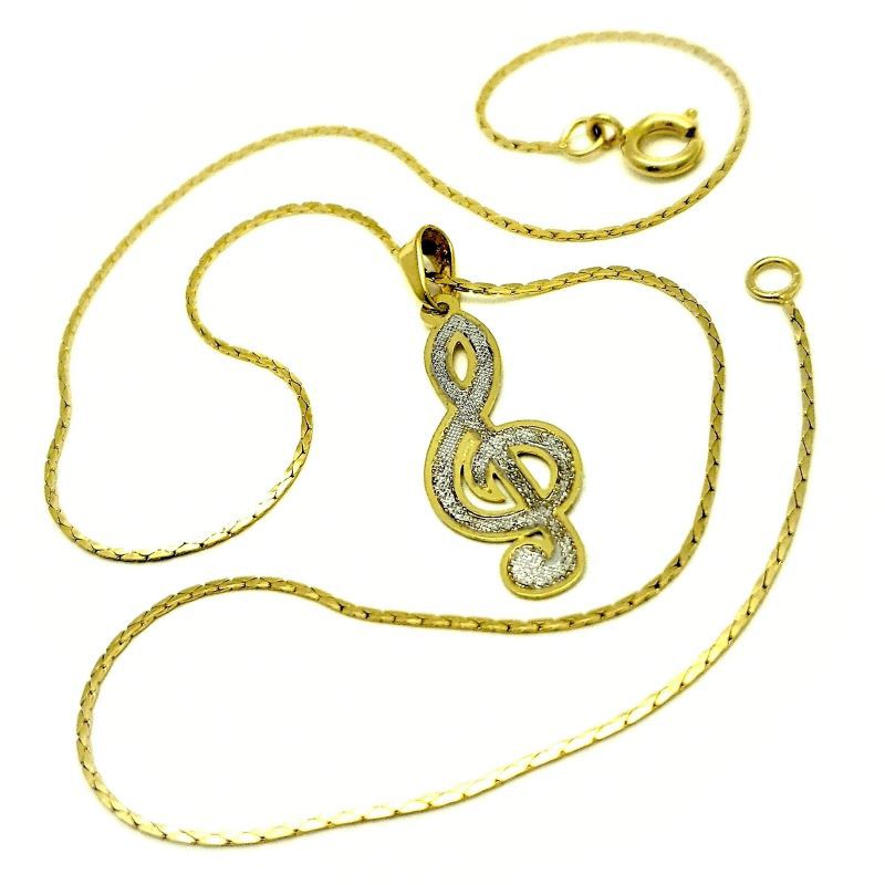 Cordão Com Pingente Nota Musical Banho De Ouro 18k 3282