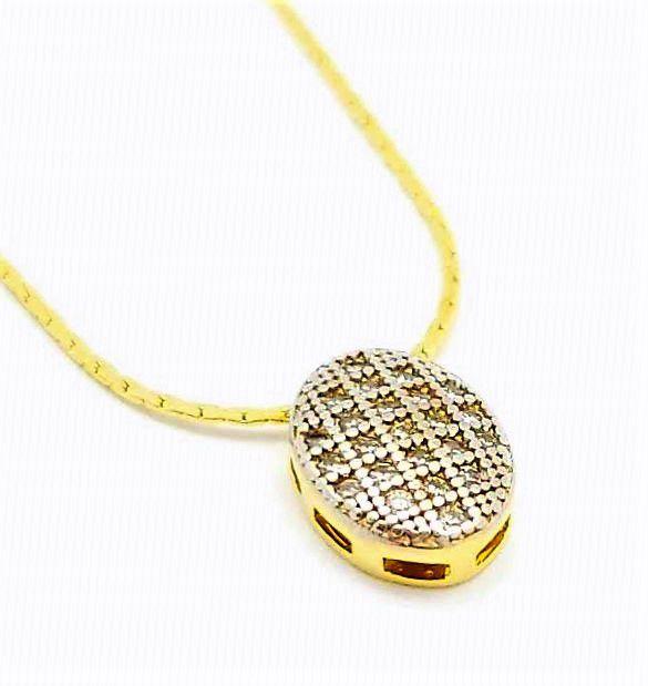 Cordão Com Pingente Oval Cravação Pavé Microzirconias Banho Ouro 18k 4572