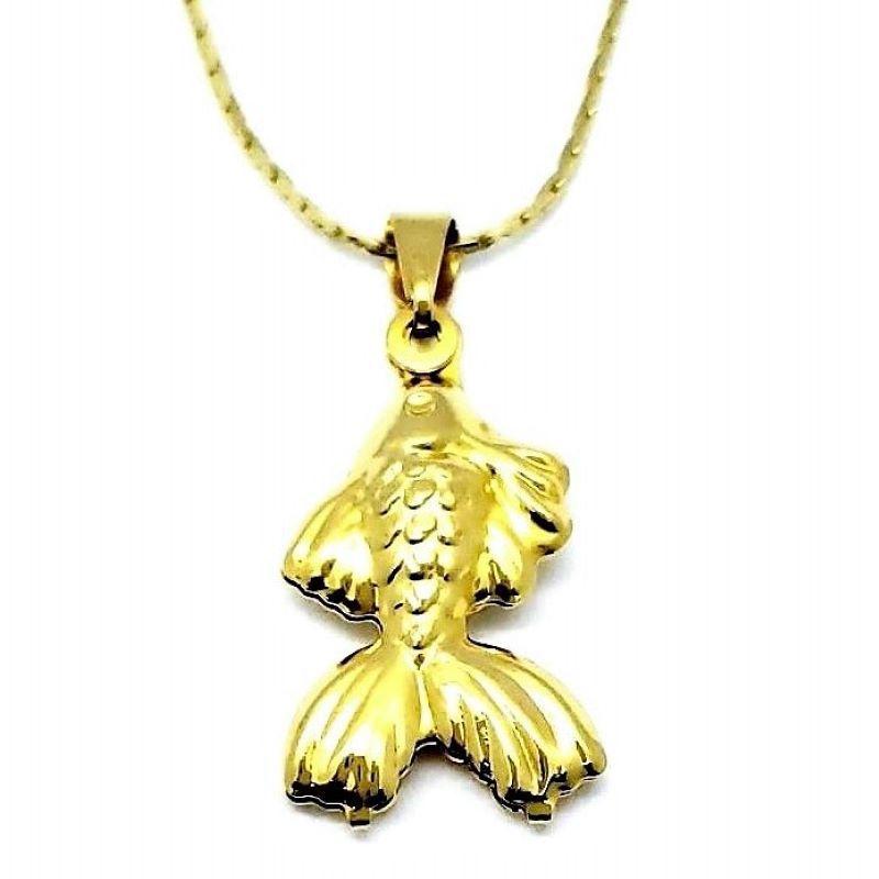 Cordão Com Pingente Peixe Beta Banho De Ouro 18k 1554