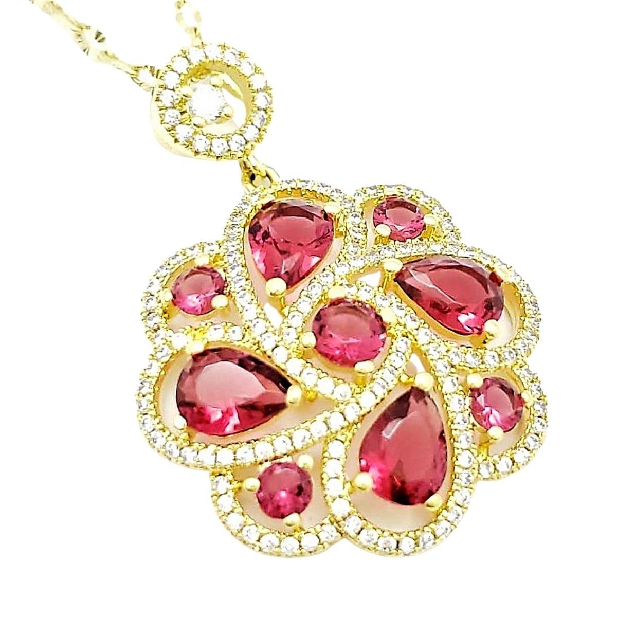 Colar Com Pingente Pink Rubelita Cravejado Banho De Ouro 18k 2563