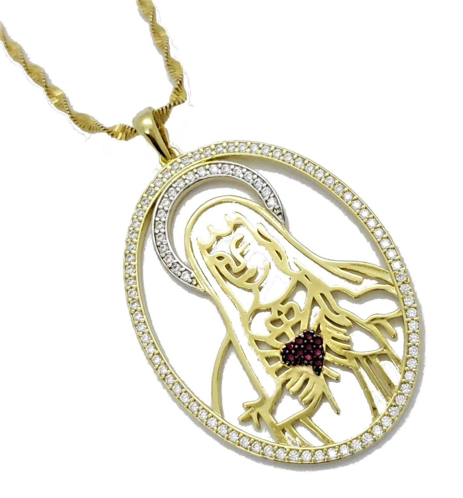 Cordão Com Pingente Sagrado Coração De Maria Cravação Zirconias Banho Ouro 18k 4573