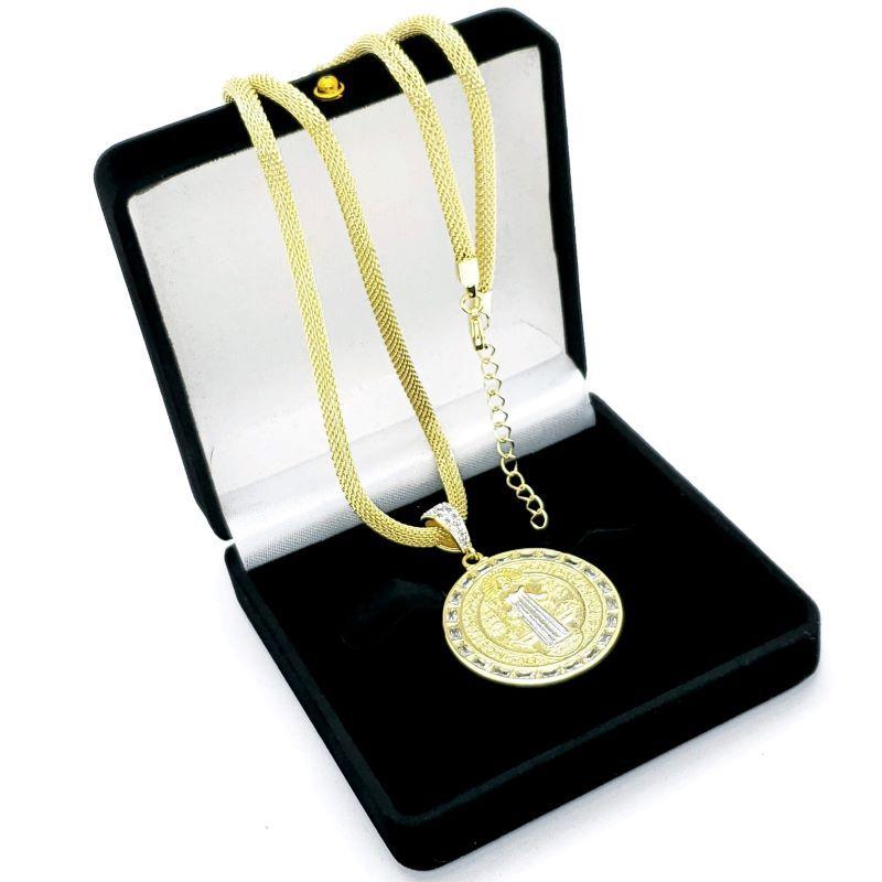 Cordão Com Pingente São Bento Zirconias Rodinado Banho De Ouro 18k 4658