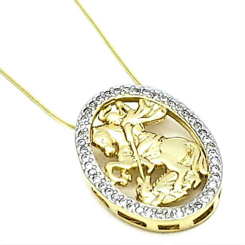 Cordão Com Pingente São Jorge  Cravejado Zirconias Banho De Ouro 18k 3602