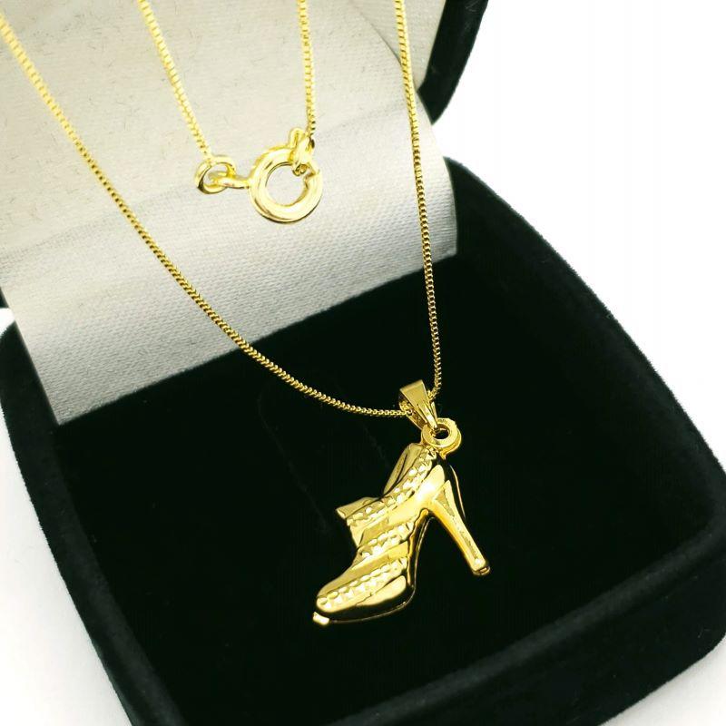 Cordão Com Pingente Sapatinho Salto Scarpin Banho De Ouro 1556