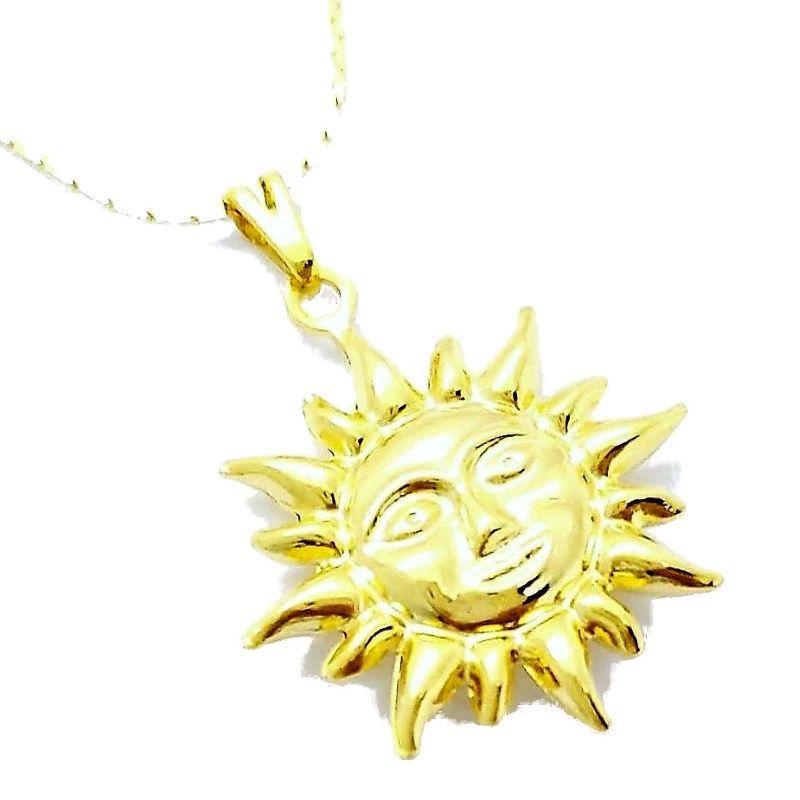 Cordão Com Pingente Sol Banho De Ouro 18k 4684