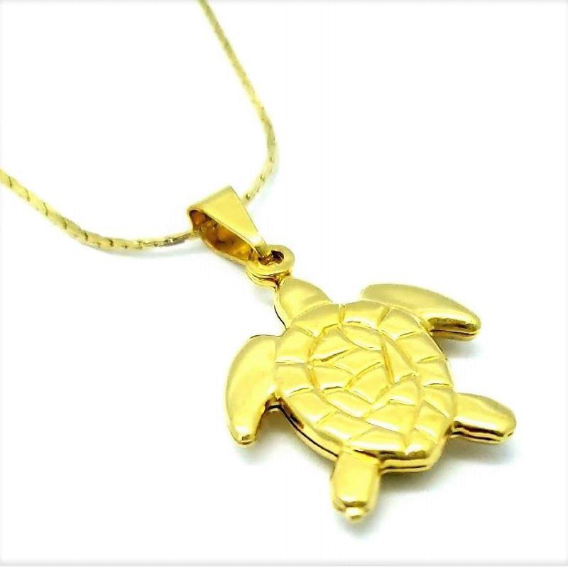 Colar Pingente Tartaruga Banho De Ouro 18k 1601