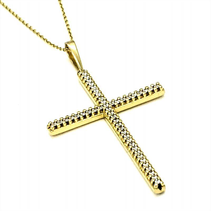 Colar Crucifixo Cravejado Com Zirconias Em Prata Com Banho De Ouro 18k 1665
