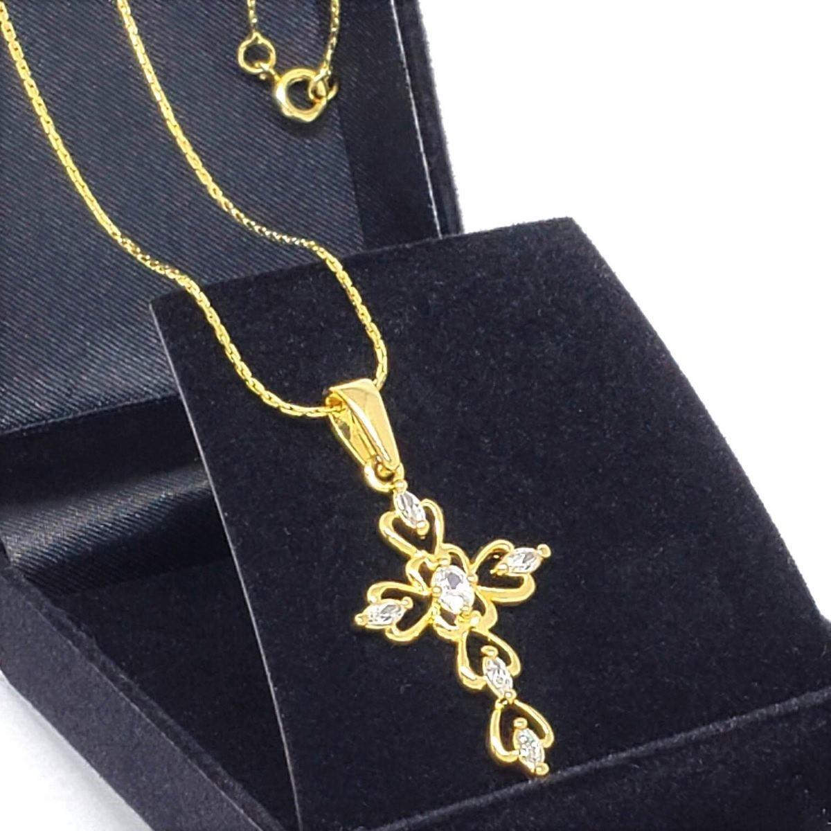 Cordão E Cruz Com Zirconias Banho De Ouro 18k 1257A