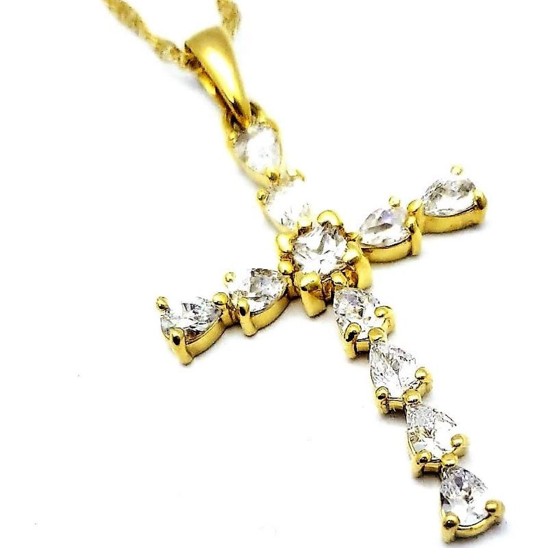 Cordão E Cruz Com Zirconias Banhados A Ouro 18k 1256
