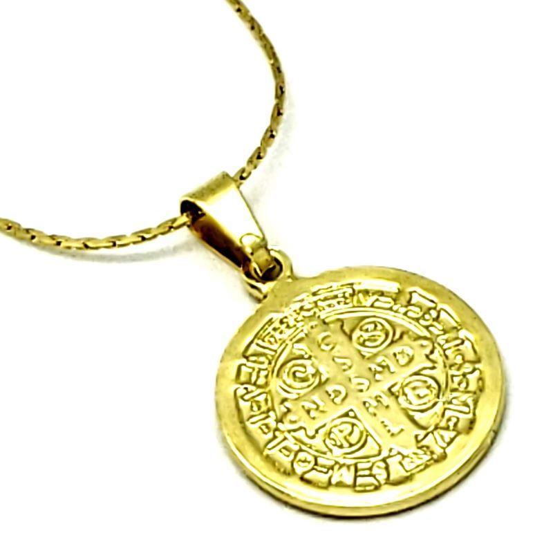 Cordão E Medalha São Bento Diamantada 20mm Banho De Ouro 4322