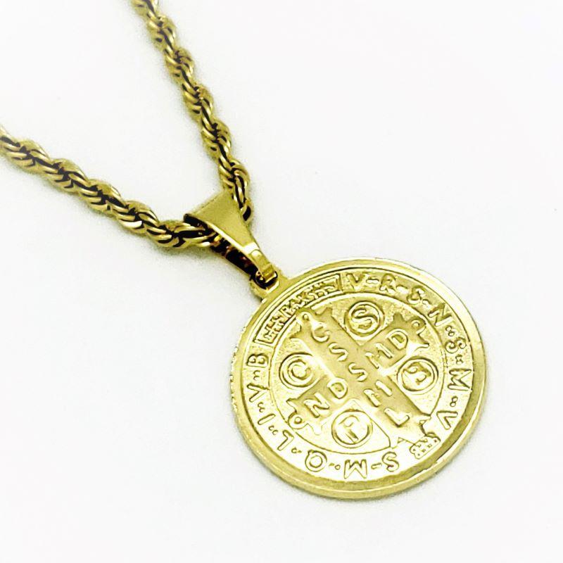 Cordão E Medalha São Bento Diamantada 25mm Banho De Ouro 18k 4359A