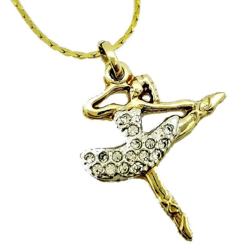 Cordão E Pingente Bailarina Arabesque Cravejado De Zirconias Banhados A Ouro 18k 600