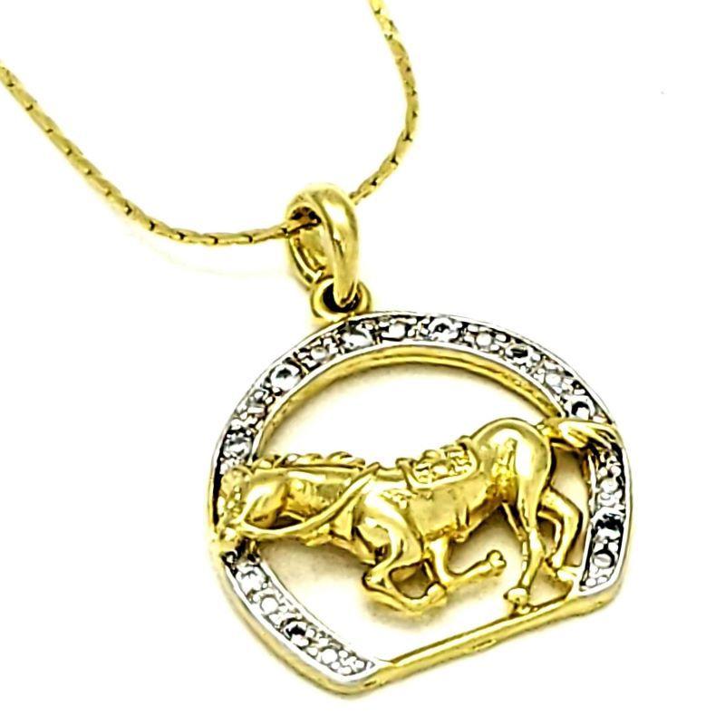 Cordão E Pingente Cavalo Ferradura Cravejado Banho De Ouro 18k 3605
