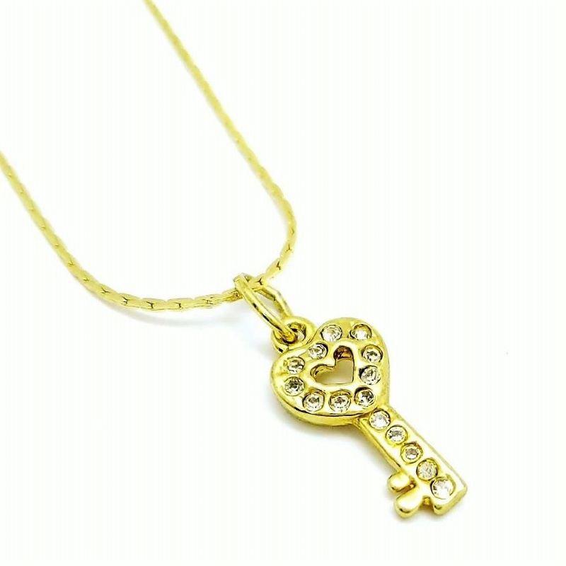 Cordão E Pingente Chave Cravejado De Zirconias Banhados A Ouro 18k 1486