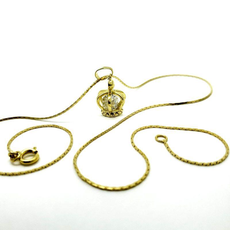 Cordão E Pingente Coroa Com Zirconia Cristal Banho De Ouro 18k 4319