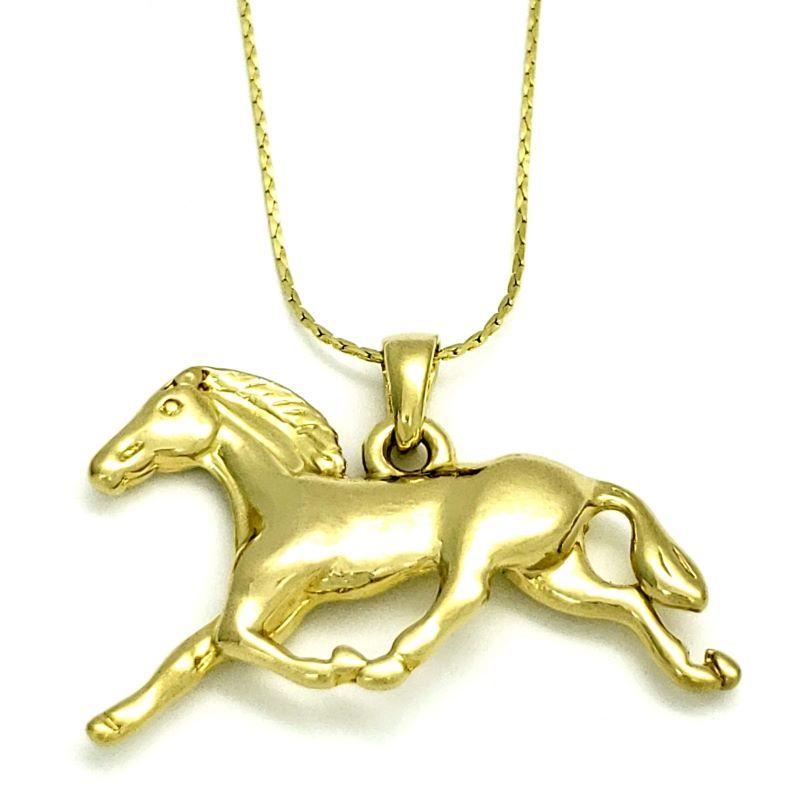 Cordão E Pingente Country Cavalo A Galope Banho De Ouro 18k 1566