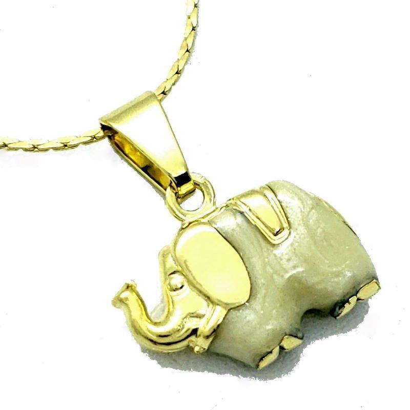 Cordão E Pingente Elefante Banho De Ouro 18k 4364