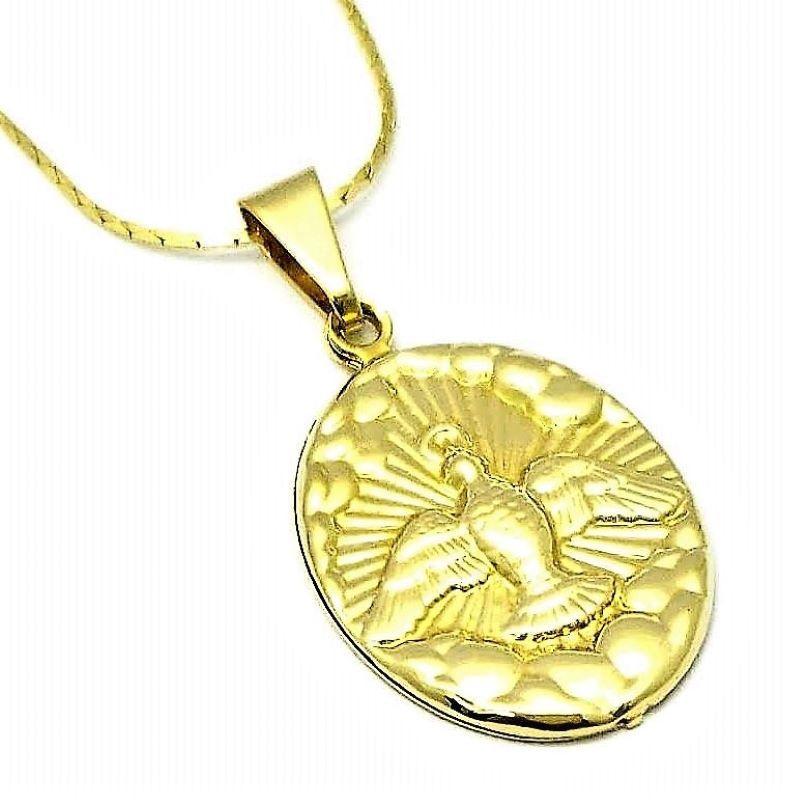 Cordão E Pingente Espírito Santo Com Resplendor Banho De Ouro 18k 879