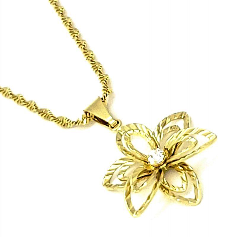 Cordão E Pingente Flor Diamantada Com Cristal Banho De Ouro 18k 4504