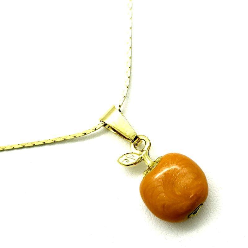 Cordão E Pingente Fruta Banho De Ouro 18k 4365