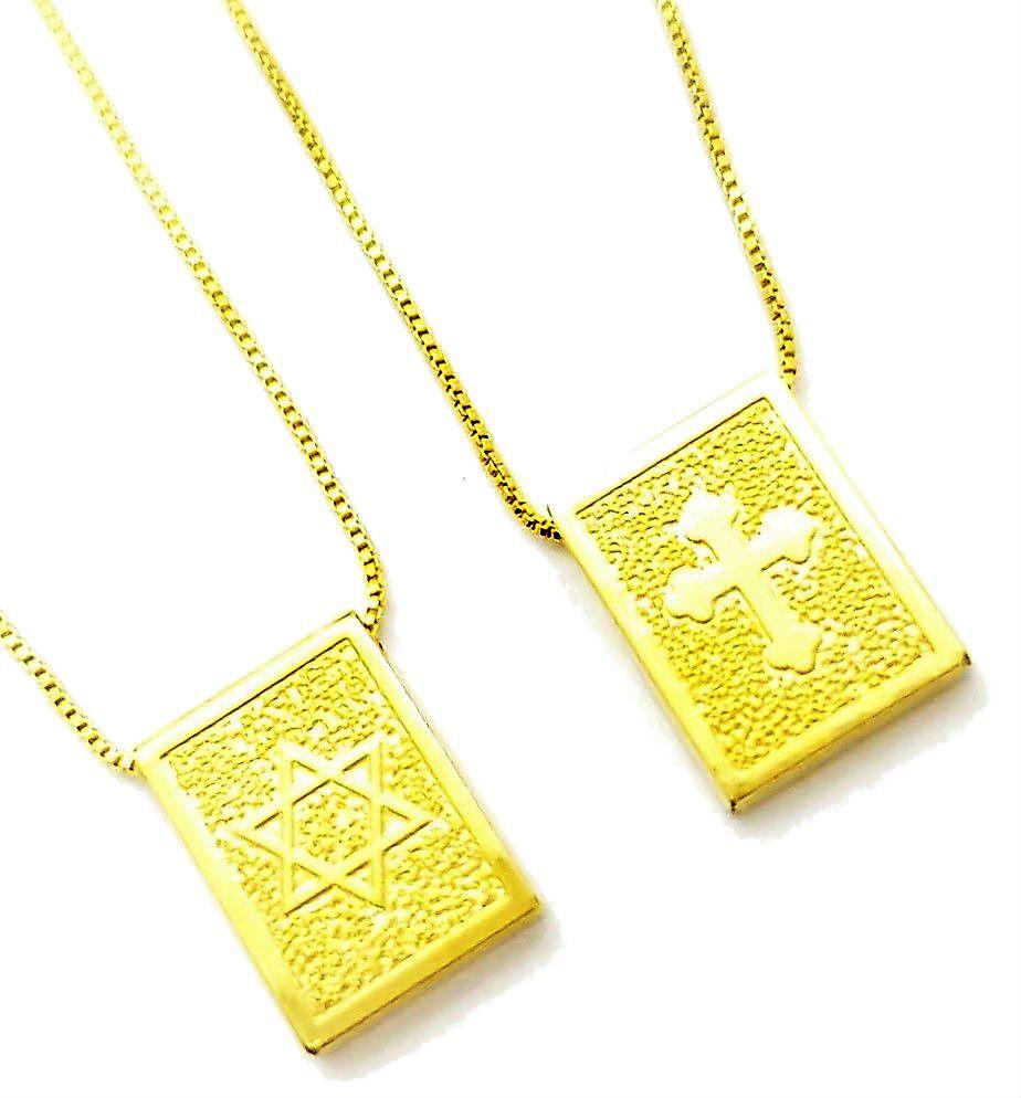 Escapulário Cruz Santíssima Trindade E Estrela de Davi Banhado A Ouro 18k 4656