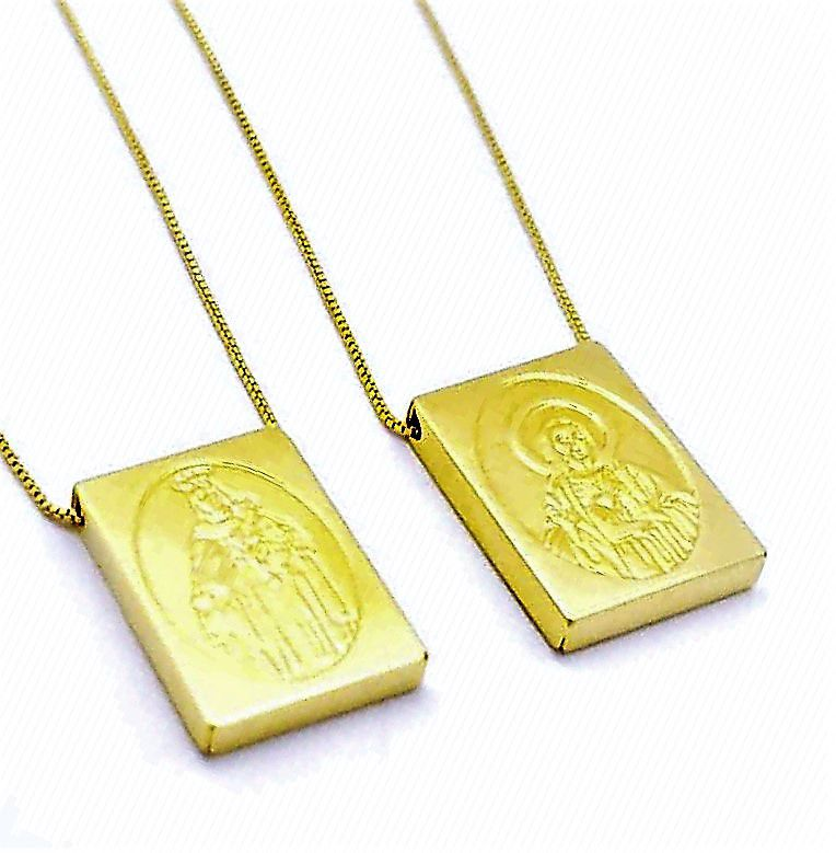 Escapulário Sagrado Coração Banhado A Ouro 18k 4655