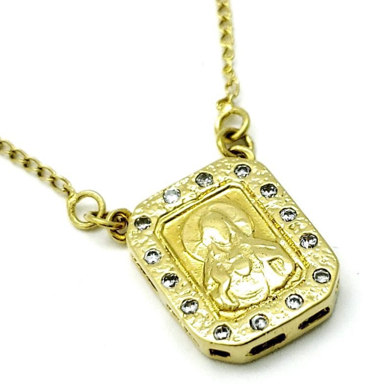 Escapulário Sagrado Coração Cravejado Com Zirconias Banho De Ouro 18k 1196