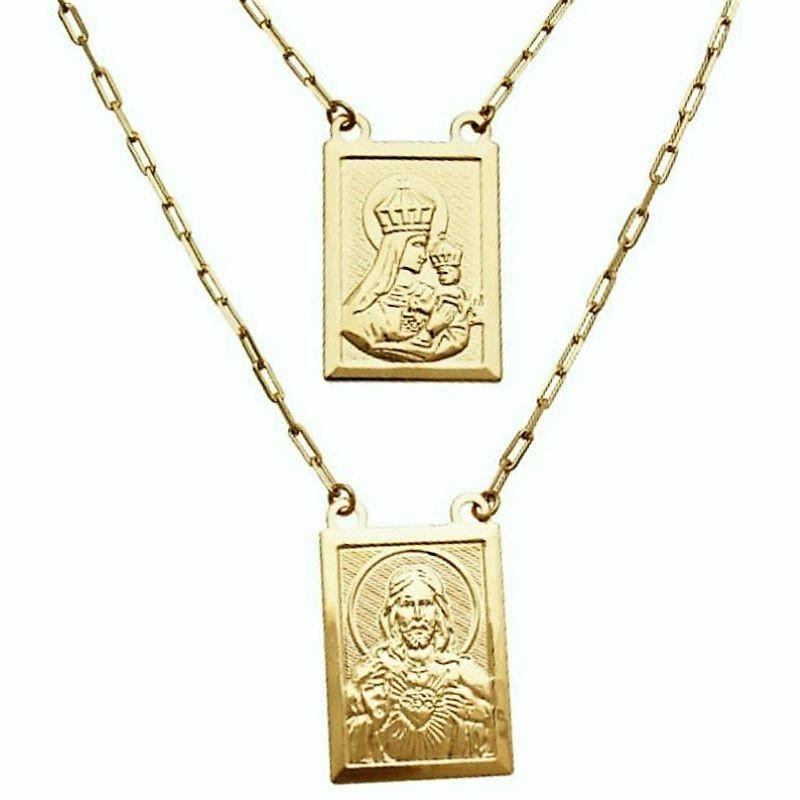 Escapulário Sagrado Coração De Jesus e Nossa Senhora Do Carmo Banhado A Ouro 18k 4750