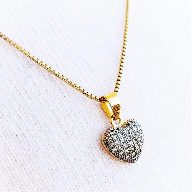 Cordão Pingente Brincos Coração Cravejado Banhados A Ouro 18k 4637