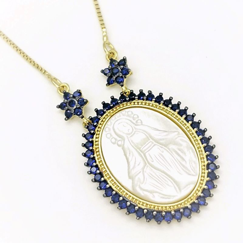 Cordão Pingente Nossa Senhora Das Graças Madrepérola Cravejado Azul Safira Banho De Ouro 18k 4727