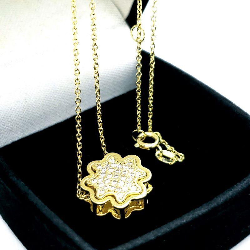 Cordão Pingente Trevo Cravejado Caixa Dupla Prata Em Banho De Ouro 18k 1667