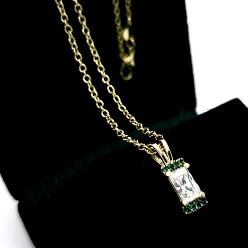 Cordão Pingente Zirconia Cravejado Em Prata Com Banho De Ouro 18k 1676