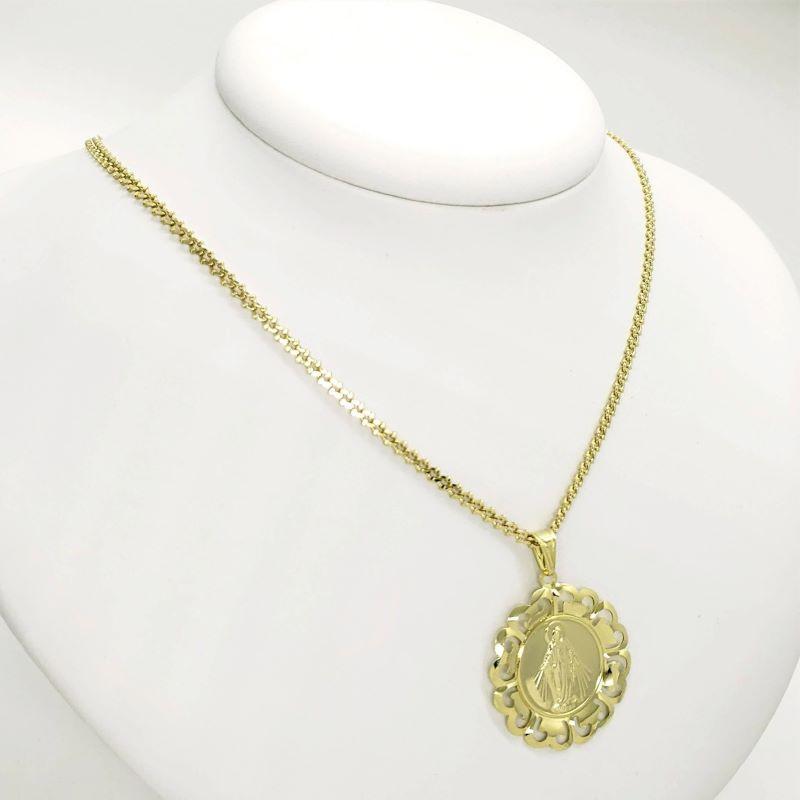 Corrente Com Pingente Medalha Nossa Senhora Das Graças Banhados A Ouro 18k 4320