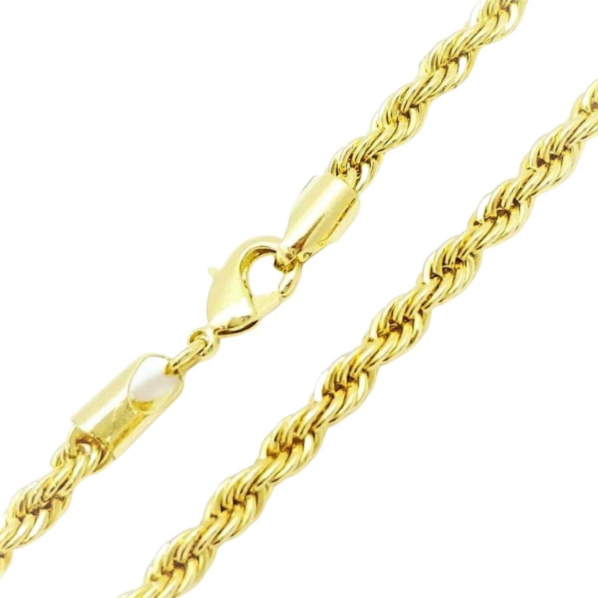Colar Cordão Baiano 2,4mm 50cm Banho De Ouro 18k 586