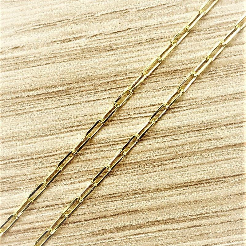 Colar Cordão Masculino Elos Longos 60cm Banho De Ouro 18k 2570